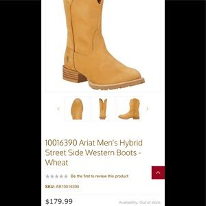 NWT Ariat Hybrid Street side boots 12D